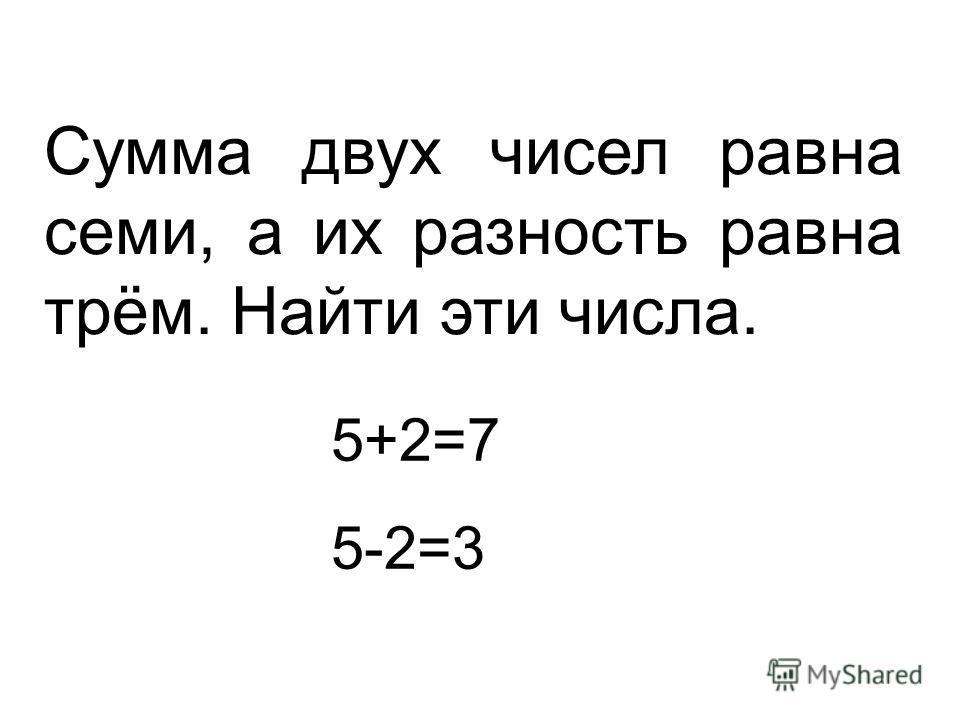 Сумма двух чисел равна семи, а их разность равна трём. Найти эти числа. 5+2=7 5-2=3