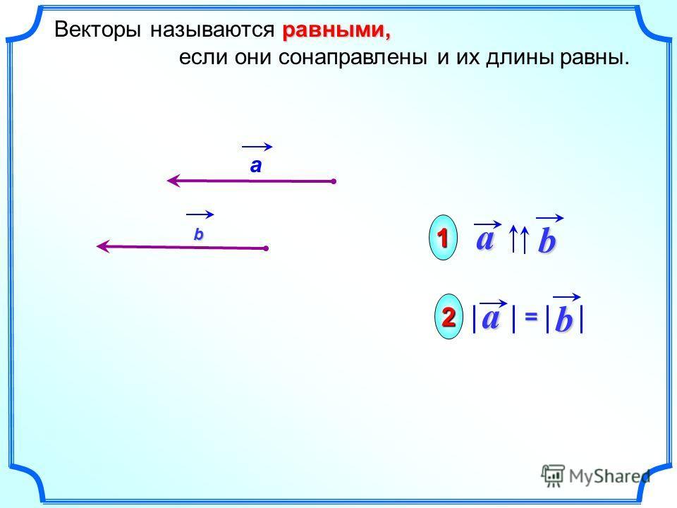 ba равными, Векторы называются равными, если они сонаправлены и их длины равны.ab = 1 2 а b