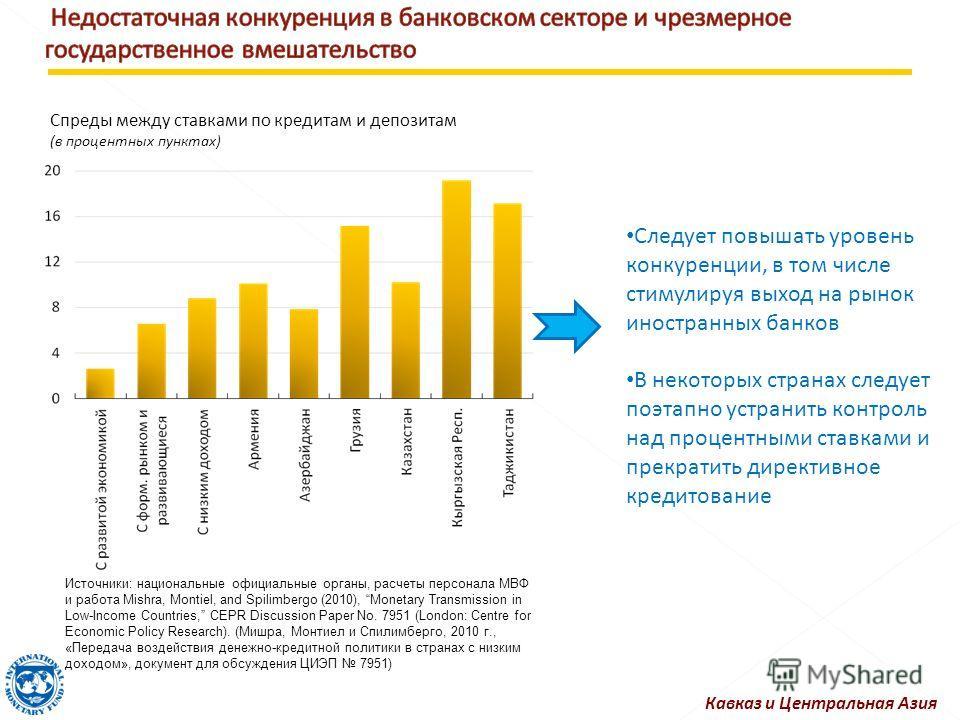 Следует повышать уровень конкуренции, в том числе стимулируя выход на рынок иностранных банков В некоторых странах следует поэтапно устранить контроль над процентными ставками и прекратить директивное кредитование Кавказ и Центральная Азия Спреды меж