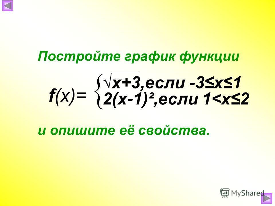 f(x)= Постройте график функции и опишите её свойства. x+3,если -3х1 2(х-1)²,если 1