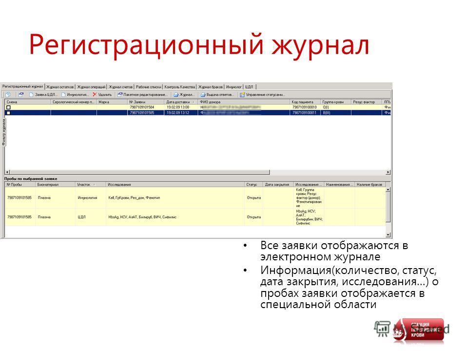 Регистрационный журнал Все заявки отображаются в электронном журнале Информация(количество, статус, дата закрытия, исследования…) о пробах заявки отображается в специальной области