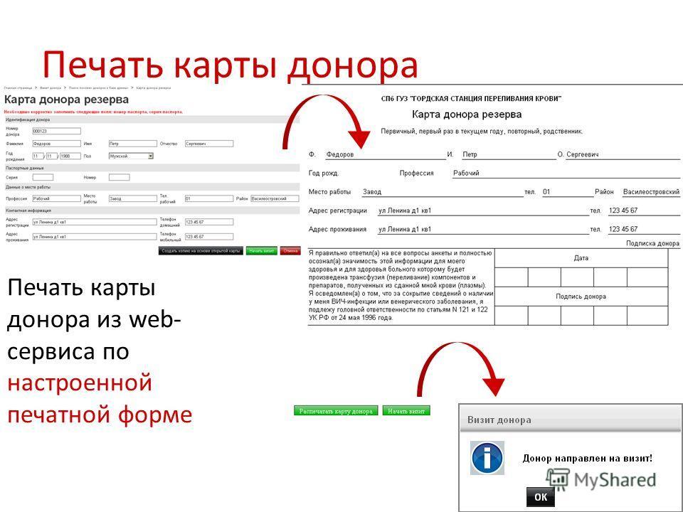 Печать карты донора Печать карты донора из web- сервиса по настроенной печатной форме