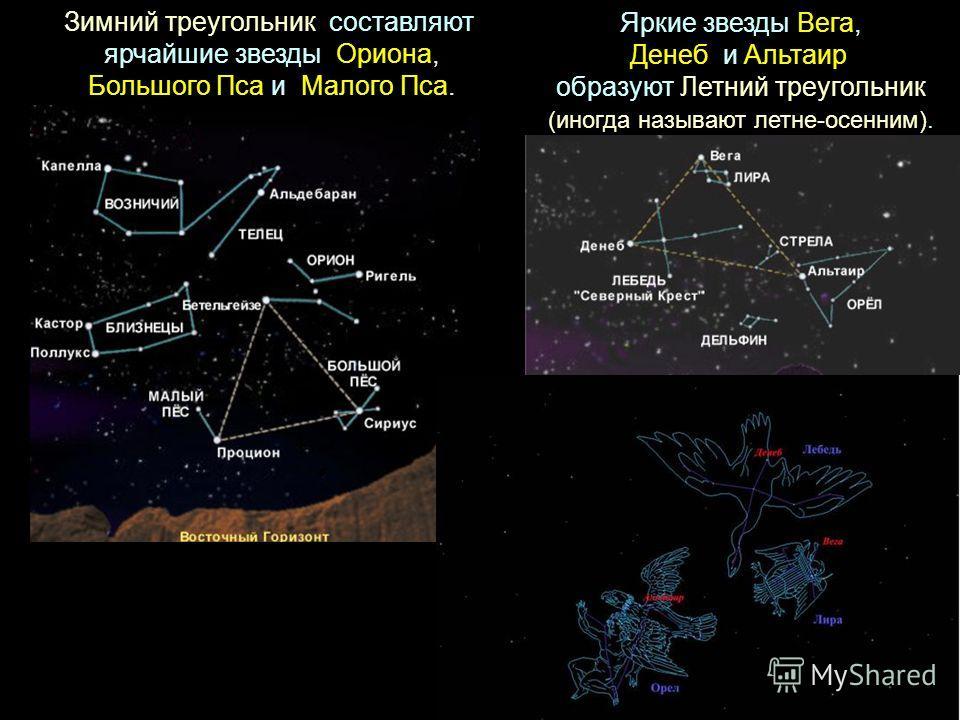 Зимний треугольник составляют ярчайшие звезды Ориона, Большого Пса и Малого Пса. Яркие звезды Вега, Денеб и Альтаир образуют Летний треугольник (иногда называют летне-осенним).
