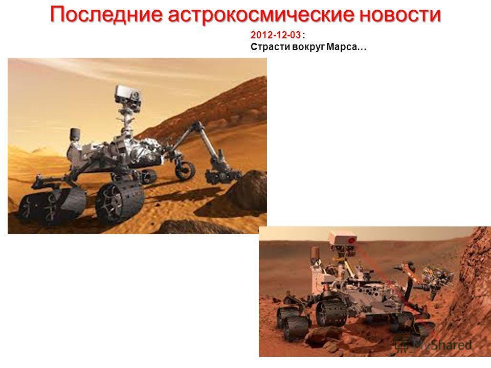 Последние астрокосмические новости 2012-12-03 : Страсти вокруг Марса…