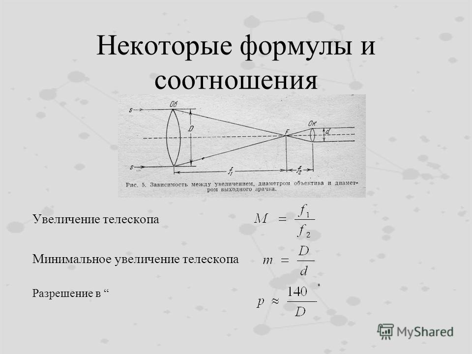 Некоторые формулы и соотношения Увеличение телескопа Минимальное увеличение телескопа Разрешение в