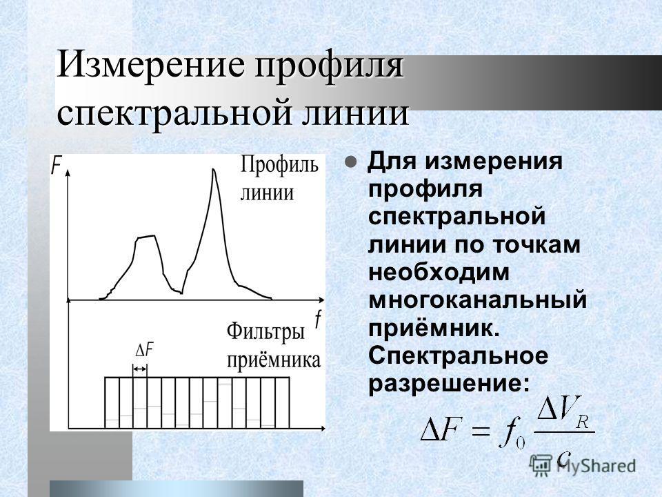 Измерение профиля спектральной линии Для измерения профиля спектральной линии по точкам необходим многоканальный приёмник. Спектральное разрешение: