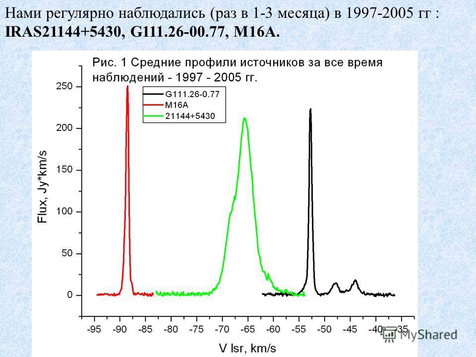 Нами регулярно наблюдались (раз в 1-3 месяца) в 1997-2005 гг : IRAS21144+5430, G111.26-00.77, M16A.