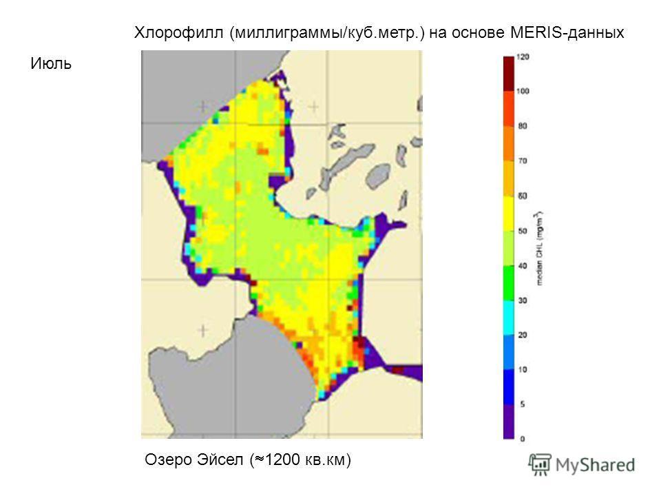 Июль Хлорофилл (миллиграммы/куб.метр.) на основе MERIS-данных Озеро Эйсел ( 1200 кв.км)
