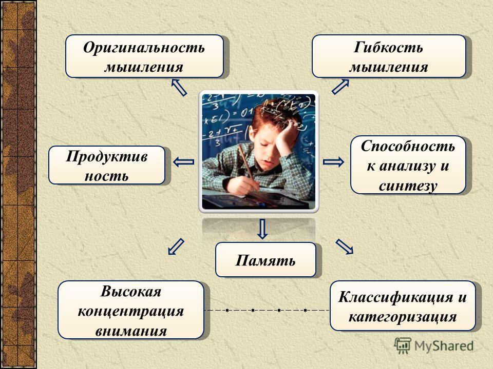 Память Высокая концентрация внимания Продуктив ность Продуктив ность Способность к анализу и синтезу Классификация и категоризация Оригинальность мышления Оригинальность мышления Гибкость мышления Гибкость мышления