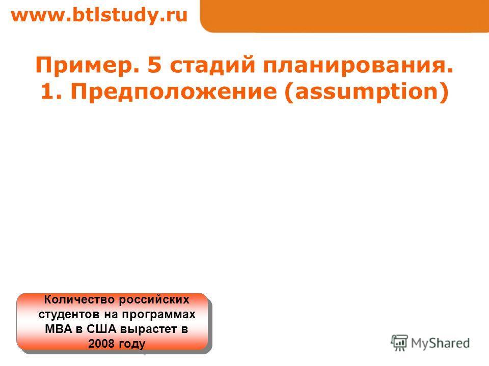 www.btlstudy.ru Пример. 5 стадий планирования. 1. Предположение (assumption) Количество российских студентов на программах MBA в США вырастет в 2008 году