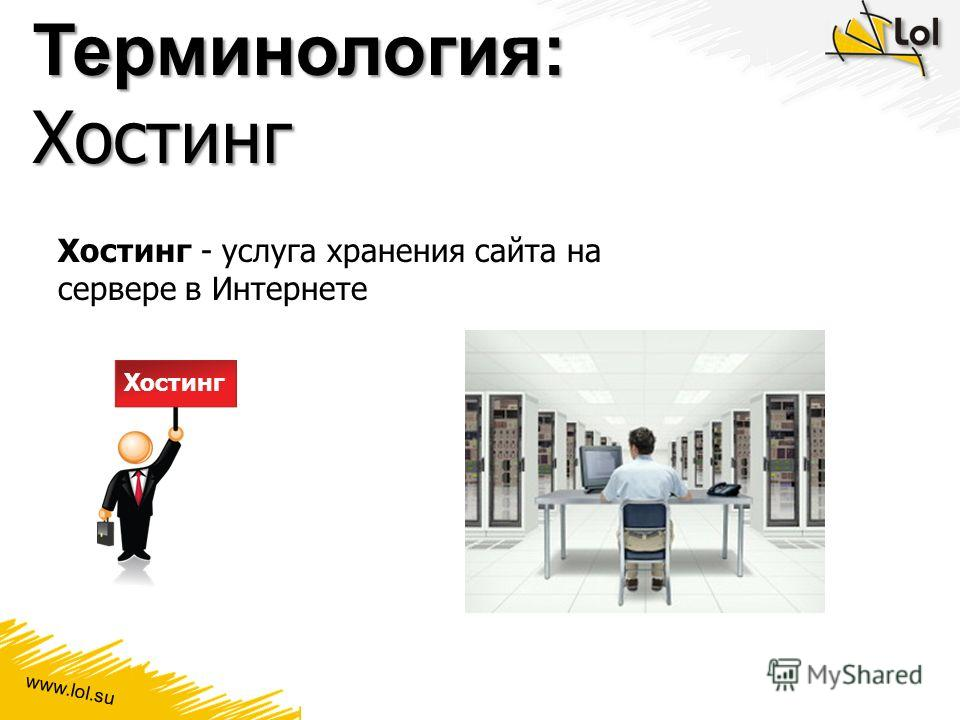 www.lol.su Терминология: Хостинг Хостинг - услуга хранения сайта на сервере в Интернете Хостинг