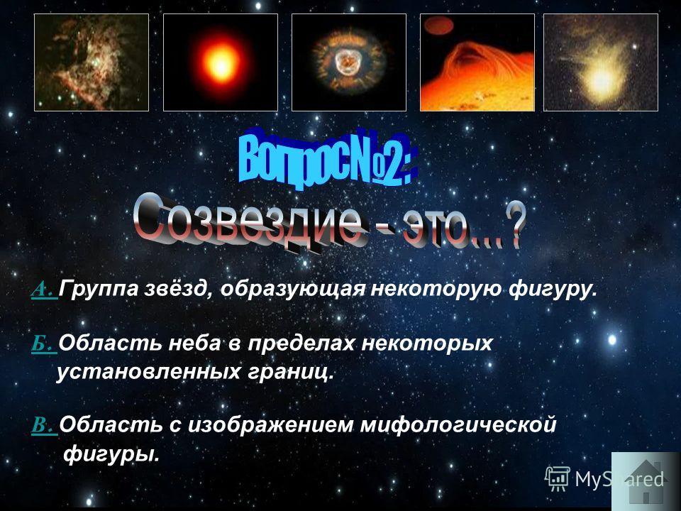 А. А. Группа звёзд, образующая некоторую фигуру. Б. Б. Область неба в пределах некоторых установленных границ. В. В. Область с изображением мифологической фигуры.
