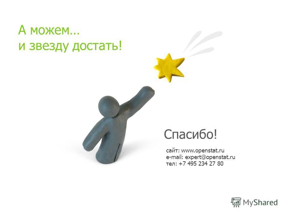 сайт: www.openstat.ru e-mail: expert@openstat.ru тел: +7 495 234 27 80 Спасибо! А можем… и звезду достать!
