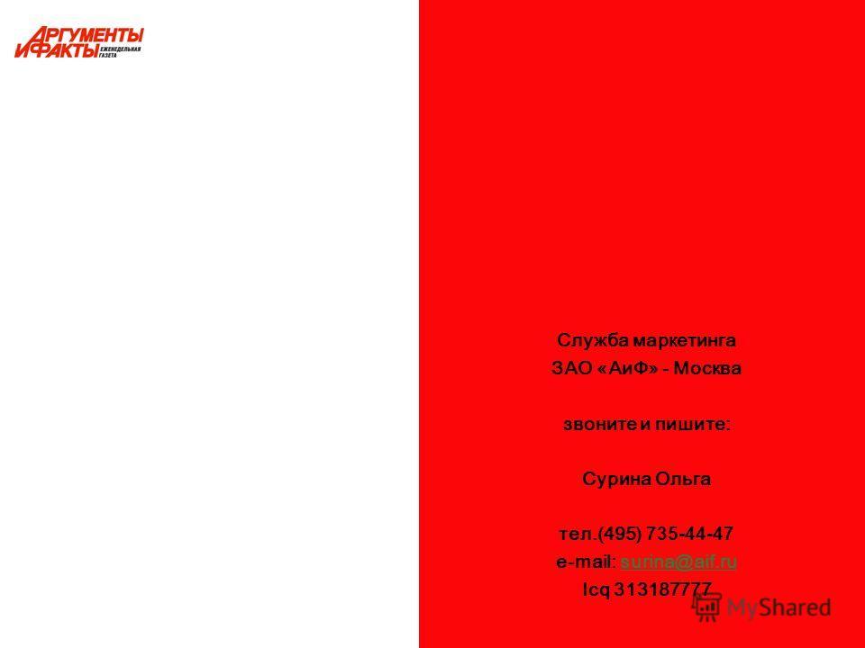 Служба маркетинга ЗАО «АиФ» - Москва звоните и пишите: Сурина Ольга тел.(495) 735-44-47 e-mail: surina@aif.rusurina@aif.ru Icq 313187777