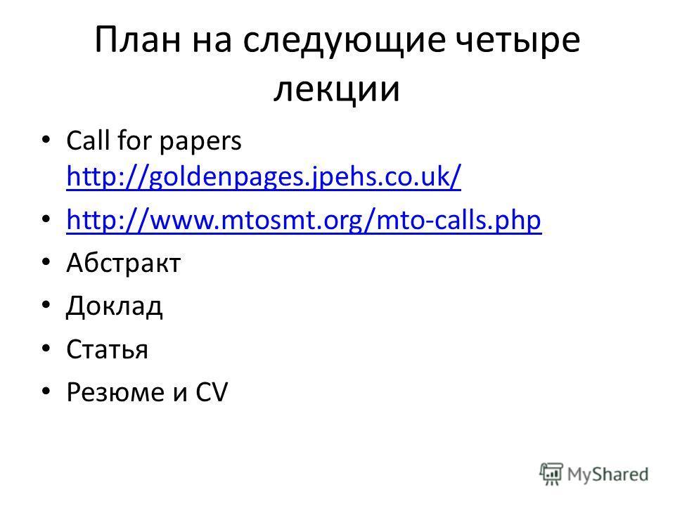 План на следующие четыре лекции Call for papers http://goldenpages.jpehs.co.uk/ http://goldenpages.jpehs.co.uk/ http://www.mtosmt.org/mto-calls.php Абстракт Доклад Статья Резюме и CV