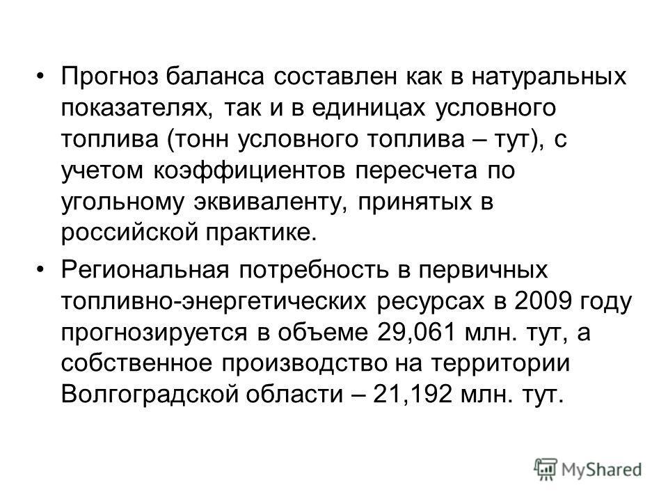 Прогноз баланса составлен как в натуральных показателях, так и в единицах условного топлива (тонн условного топлива – тут), с учетом коэффициентов пересчета по угольному эквиваленту, принятых в российской практике. Региональная потребность в первичны
