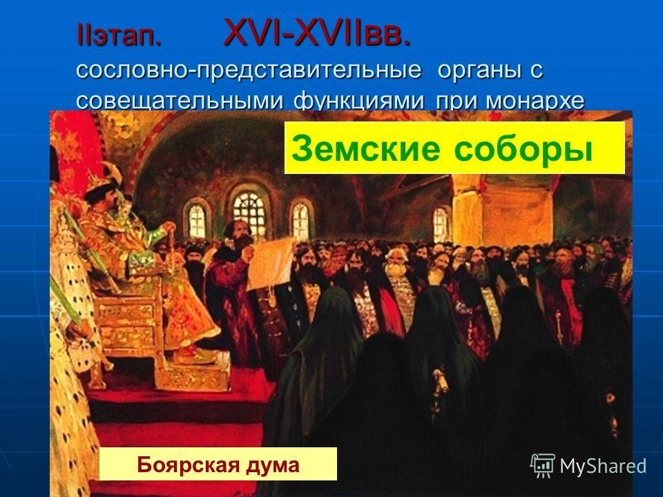 IIэтап. XVI-XVIIвв. сословно-представительные органы с совещательными функциями при монархе Земские соборы Боярская дума