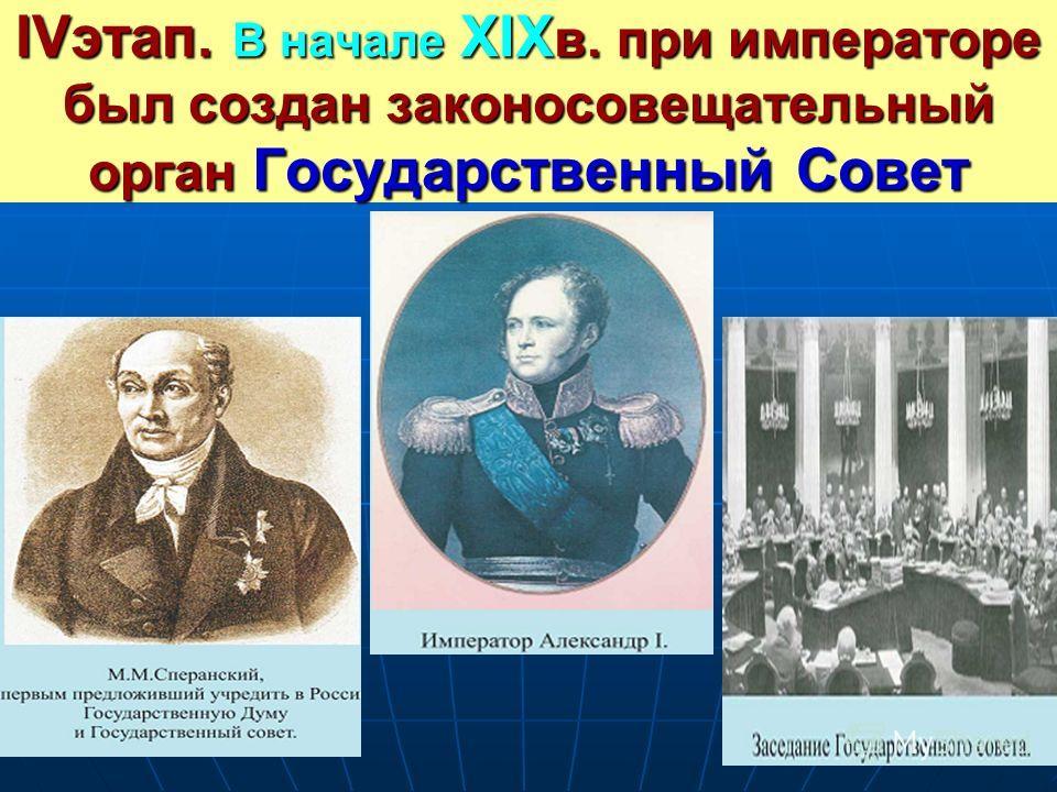IVэтап. В начале XIX в. при императоре был создан законосовещательный орган Государственный Совет