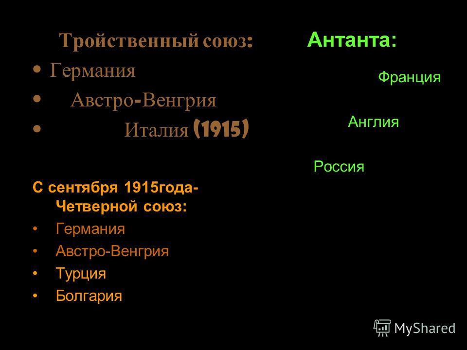 я Тройственный союз : Германия Австро - Венгрия Италия (1915) Антанта: С сентября 1915года- Четверной союз: Германия Австро-Венгрия Турция Болгария Франция Англия Россия