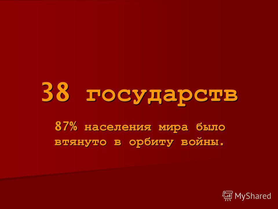 38 государств 87% населения мира было втянуто в орбиту войны.