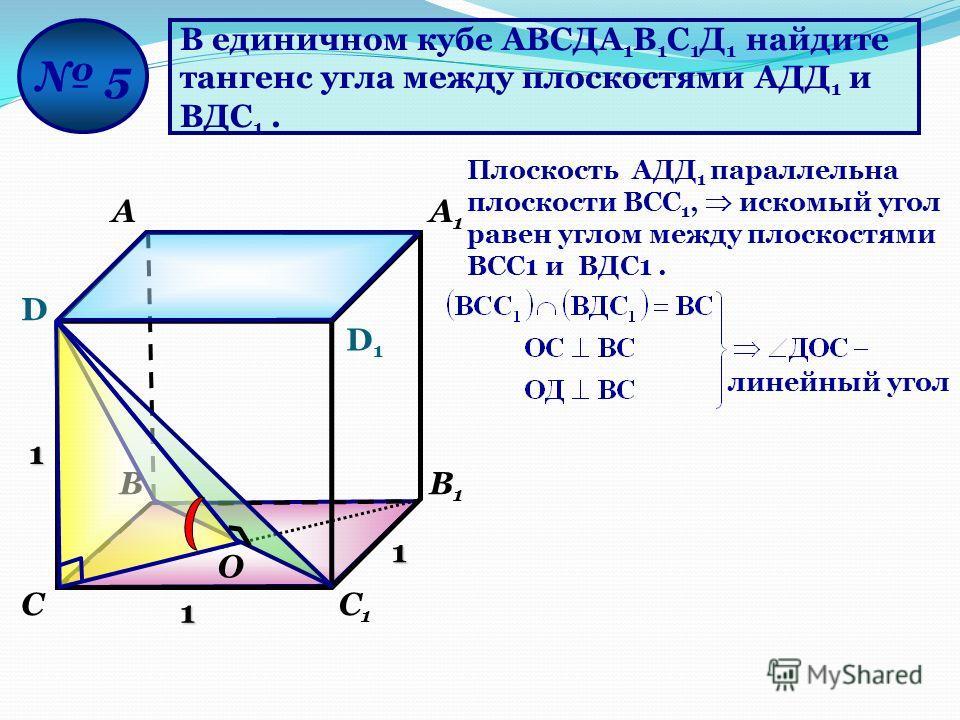 В единичном кубе АВСДА 1 В 1 С 1 Д 1 найдите тангенс угла между плоскостями АДД 1 и ВДС 1. D D1D1 АА1А1 ВВ1В1 СС1С1 5 1 1 1 Плоскость AДД 1 параллельна плоскости ВСС 1, искомый угол равен углом между плоскостями ВСС1 и ВДС1. О линейный угол