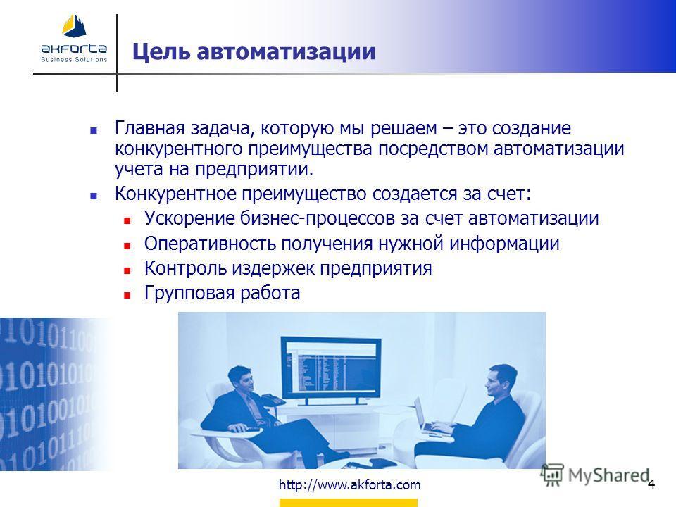 http://www.akforta.com4 Цель автоматизации Главная задача, которую мы решаем – это создание конкурентного преимущества посредством автоматизации учета на предприятии. Конкурентное преимущество создается за счет: Ускорение бизнес-процессов за счет авт