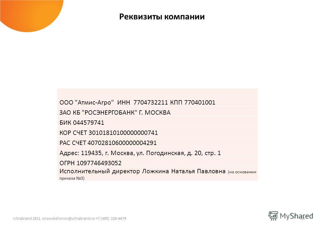 14 Ultrabrand 2011 onovokshonov@ultrabrand.ru +7 (495) 229-4479 Реквизиты компании ООО