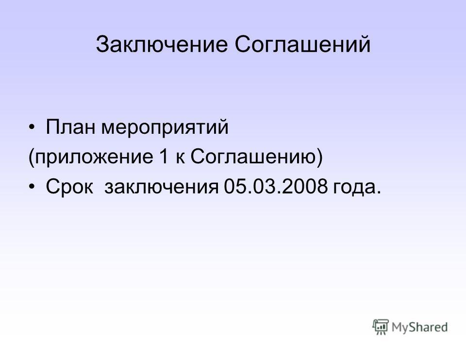 Заключение Соглашений План мероприятий (приложение 1 к Соглашению) Срок заключения 05.03.2008 года.