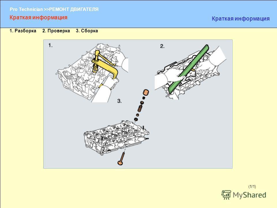 (1/2) Pro Technician >>РЕМОНТ ДВИГАТЕЛЯ (1/1) Краткая информация 1. Разборка 2. Проверка 3. Сборка
