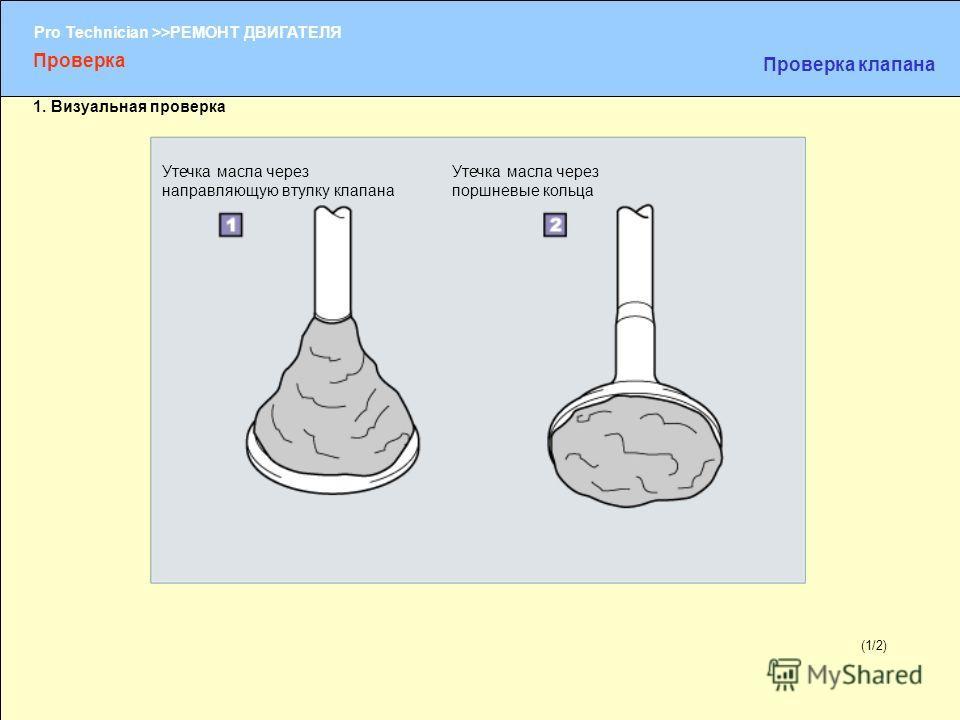 (1/2) Pro Technician >>РЕМОНТ ДВИГАТЕЛЯ (1/2) Утечка масла через направляющую втулку клапана Утечка масла через поршневые кольца Проверка Проверка клапана 1. Визуальная проверка