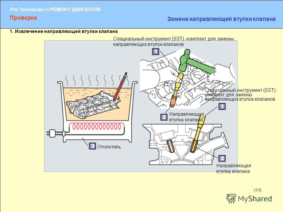 (1/2) Pro Technician >>РЕМОНТ ДВИГАТЕЛЯ (1/3) Проверка Замена направляющей втулки клапана 1. Извлечение направляющей втулки клапана Специальный инструмент (SST): комплект для замены направляющих втулок клапанов Направляющая втулка клапана Отопитель Н