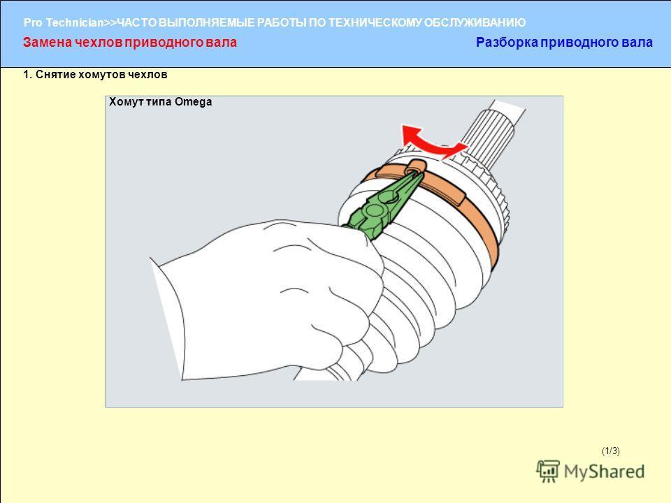 (1/2) Pro Technician>>ЧАСТО ВЫПОЛНЯЕМЫЕ РАБОТЫ ПО ТЕХНИЧЕСКОМУ ОБСЛУЖИВАНИЮ (1/3) Замена чехлов приводного валаРазборка приводного вала 1. Снятие хомутов чехлов Хомут типа Omega