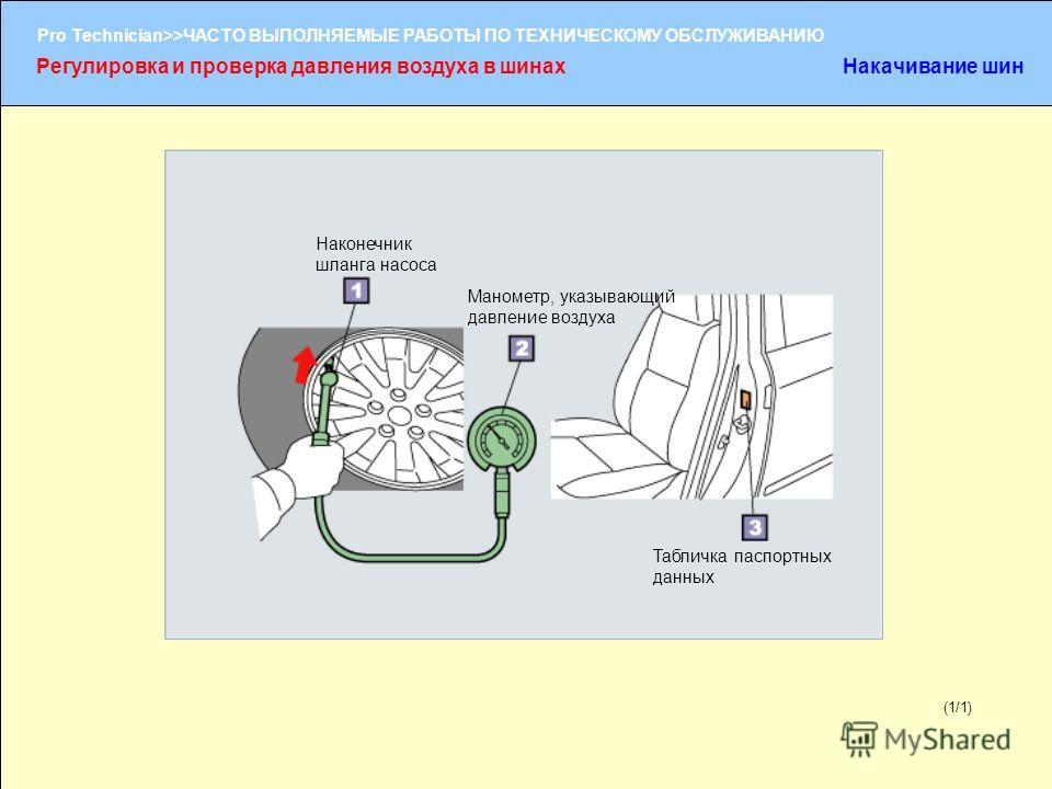 (1/2) Pro Technician>>ЧАСТО ВЫПОЛНЯЕМЫЕ РАБОТЫ ПО ТЕХНИЧЕСКОМУ ОБСЛУЖИВАНИЮ (1/1) Наконечник шланга насоса Манометр, указывающий давление воздуха Табличка паспортных данных Регулировка и проверка давления воздуха в шинахНакачивание шин