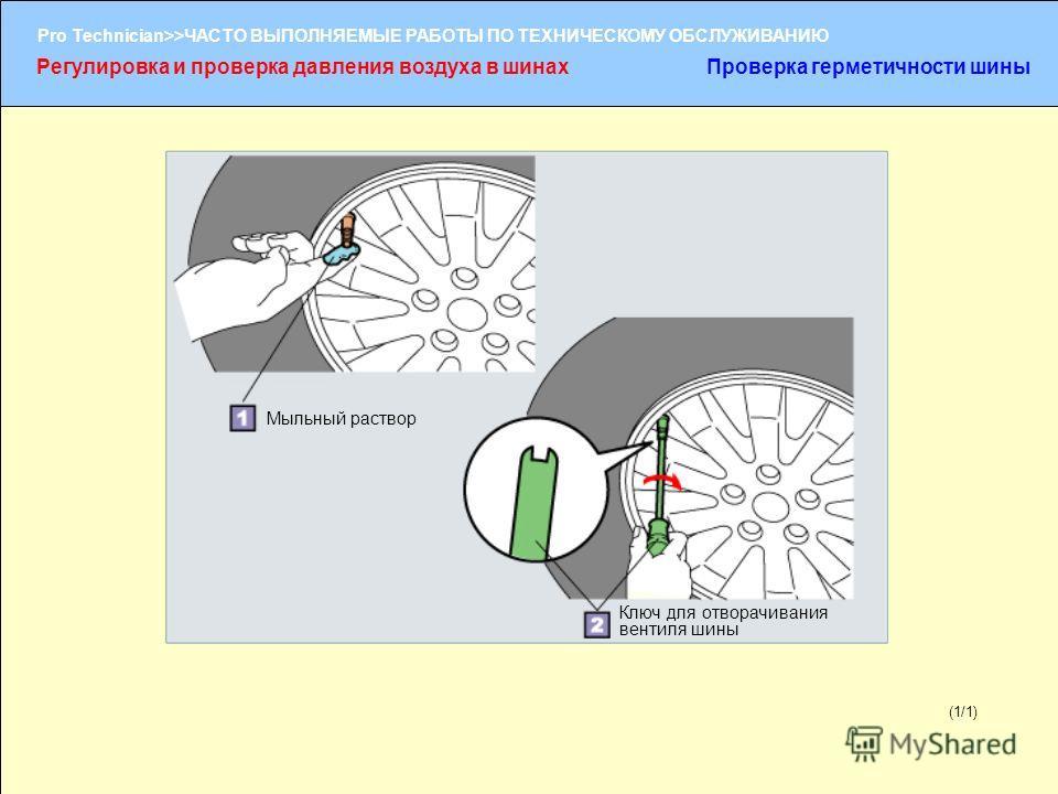 (1/2) Pro Technician>>ЧАСТО ВЫПОЛНЯЕМЫЕ РАБОТЫ ПО ТЕХНИЧЕСКОМУ ОБСЛУЖИВАНИЮ (1/1) Мыльный раствор Ключ для отворачивания вентиля шины Регулировка и проверка давления воздуха в шинахПроверка герметичности шины