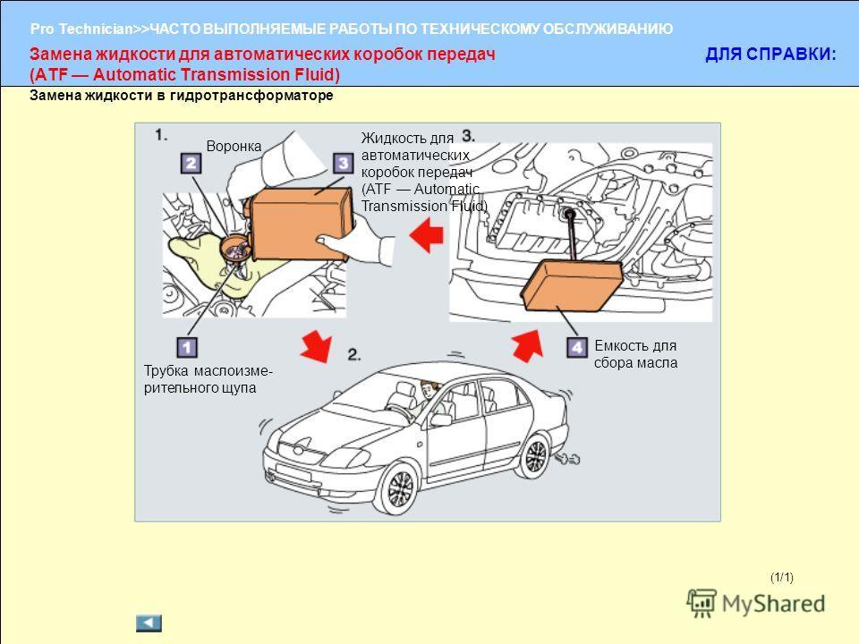 (1/2) Pro Technician>>ЧАСТО ВЫПОЛНЯЕМЫЕ РАБОТЫ ПО ТЕХНИЧЕСКОМУ ОБСЛУЖИВАНИЮ (1/1) Замена жидкости в гидротрансформаторе Замена жидкости для автоматических коробок передач (ATF Automatic Transmission Fluid) ДЛЯ СПРАВКИ: Трубка маслоизме- рительного щу