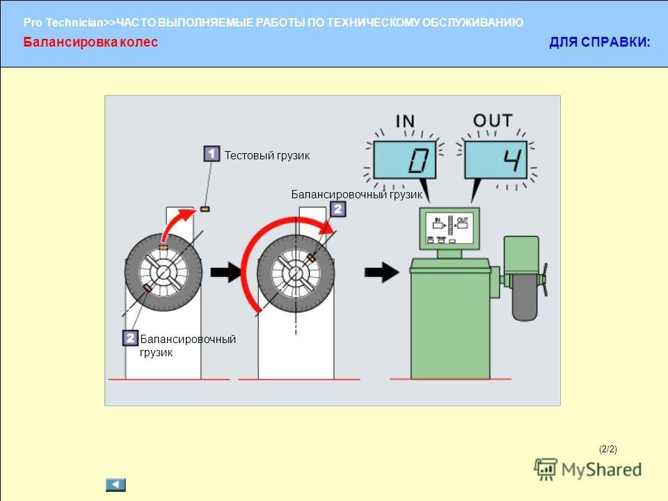 (1/2) Pro Technician>>ЧАСТО ВЫПОЛНЯЕМЫЕ РАБОТЫ ПО ТЕХНИЧЕСКОМУ ОБСЛУЖИВАНИЮ (2/2) Балансировка колесДЛЯ СПРАВКИ: Тестовый грузик Балансировочный грузик
