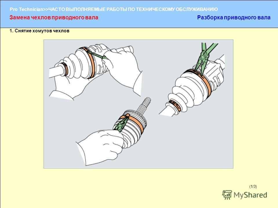 (1/2) Pro Technician>>ЧАСТО ВЫПОЛНЯЕМЫЕ РАБОТЫ ПО ТЕХНИЧЕСКОМУ ОБСЛУЖИВАНИЮ (1/3) 1. Снятие хомутов чехлов Замена чехлов приводного валаРазборка приводного вала