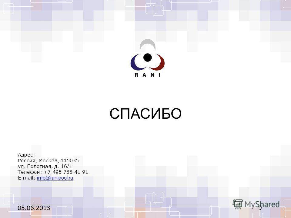 СПАСИБО 05.06.20139 Адрес: Россия, Москва, 115035 ул. Болотная, д. 16/1 Телефон: +7 495 788 41 91 E-mail: info@ranipool.ruinfo@ranipool.ru