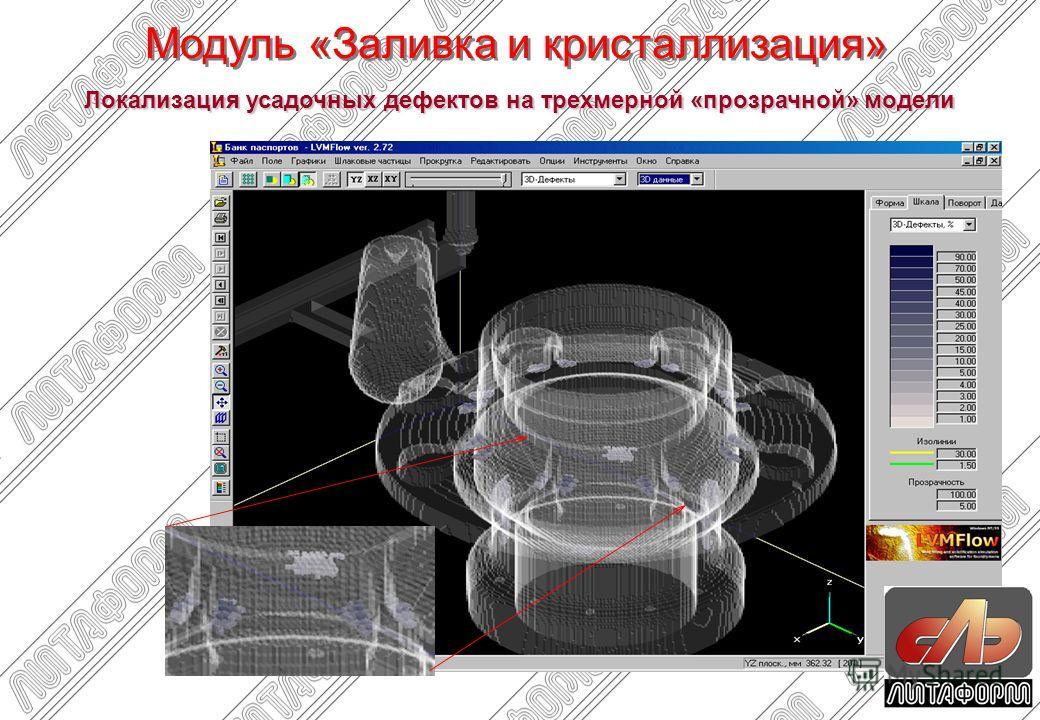 Локализация усадочных дефектов на трехмерной «прозрачной» модели Модуль «Заливка и кристаллизация»