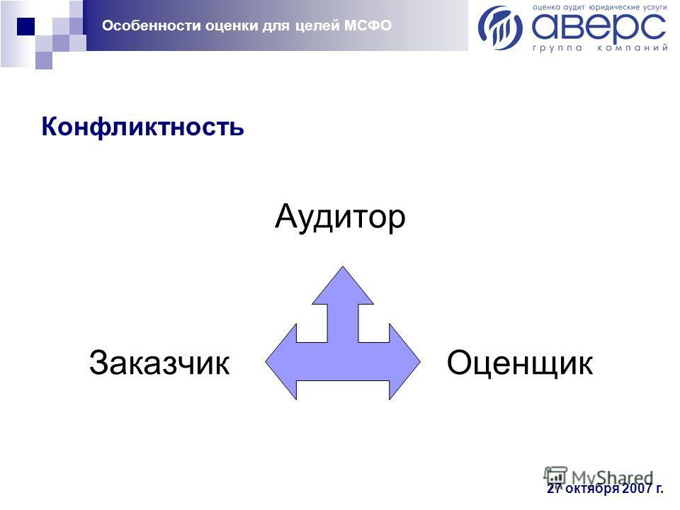 Особенности оценки для целей МСФО 27 октября 2007 г. Конфликтность Аудитор Заказчик Оценщик