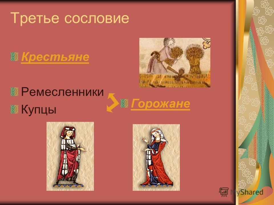Третье сословие Крестьяне Ремесленники Купцы Горожане