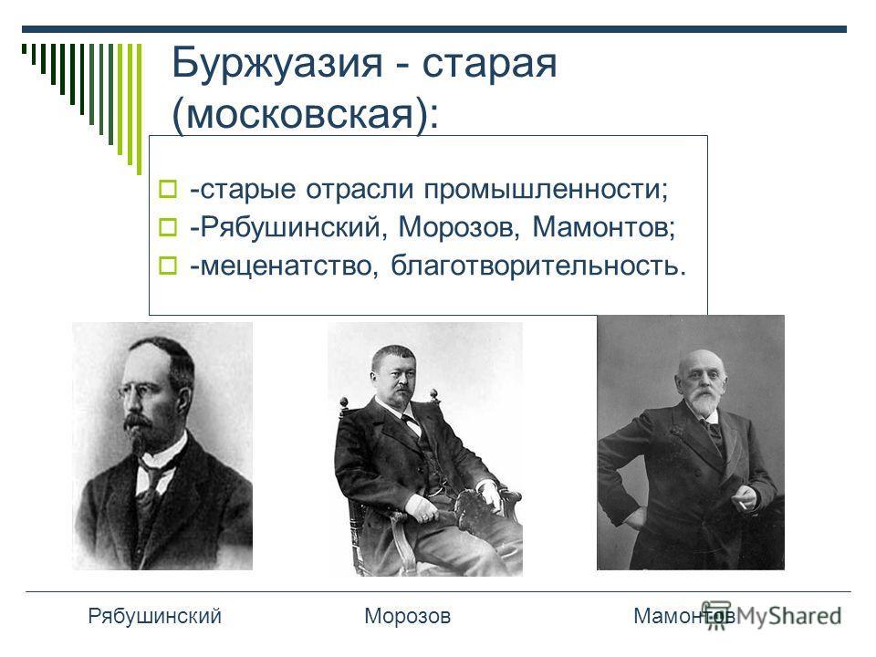 Буржуазия - старая (московская): -старые отрасли промышленности; -Рябушинский, Морозов, Мамонтов; -меценатство, благотворительность. РябушинскийМорозовМамонтов