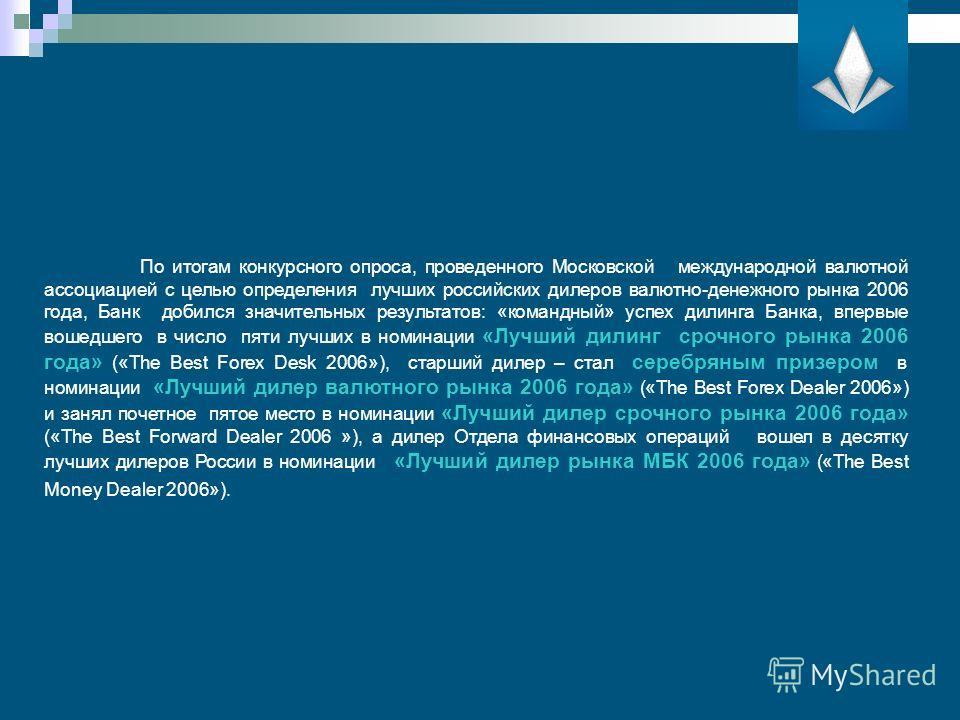 По итогам конкурсного опроса, проведенного Московской международной валютной ассоциацией с целью определения лучших российских дилеров валютно-денежного рынка 2006 года, Банк добился значительных результатов: «командный» успех дилинга Банка, впервые