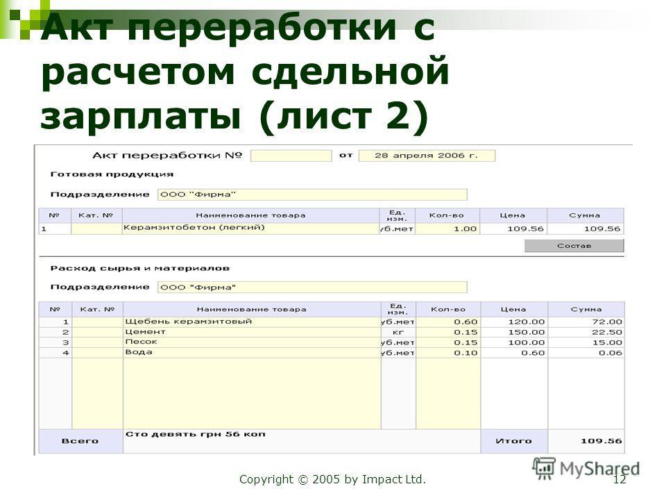 Copyright © 2005 by Impact Ltd.12 Акт переработки с расчетом сдельной зарплаты (лист 2)