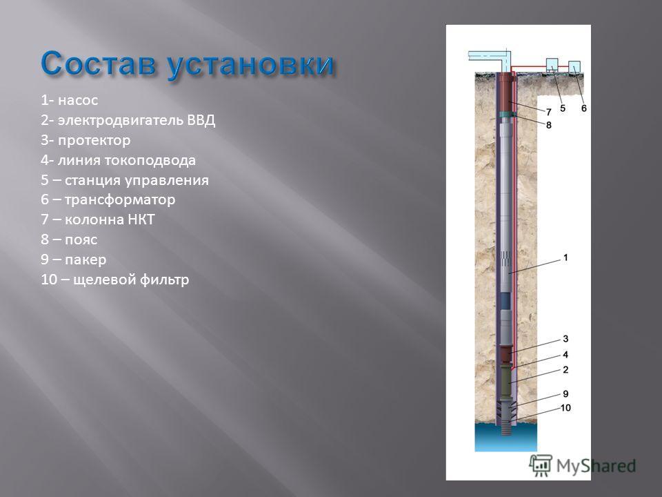 1- насос 2- электродвигатель ВВД 3- протектор 4- линия токоподвода 5 – станция управления 6 – трансформатор 7 – колонна НКТ 8 – пояс 9 – пакер 10 – щелевой фильтр