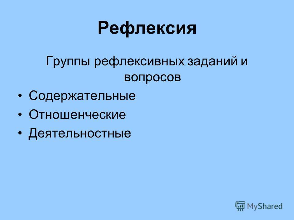 Рефлексия Группы рефлексивных заданий и вопросов Содержательные Отношенческие Деятельностные
