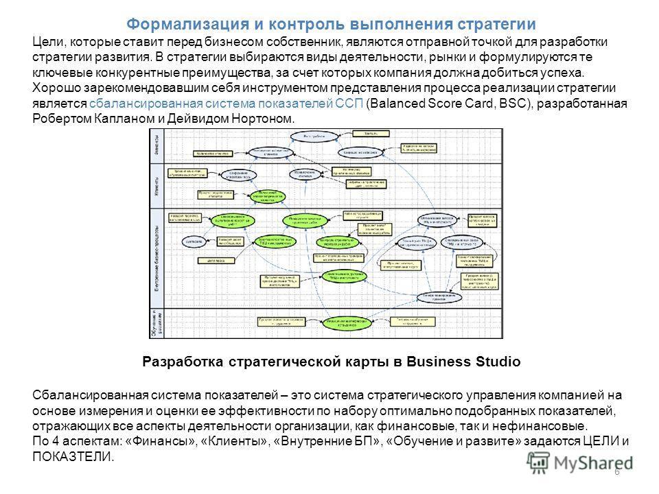 6 Формализация и контроль выполнения стратегии Цели, которые ставит перед бизнесом собственник, являются отправной точкой для разработки стратегии развития. В стратегии выбираются виды деятельности, рынки и формулируются те ключевые конкурентные преи