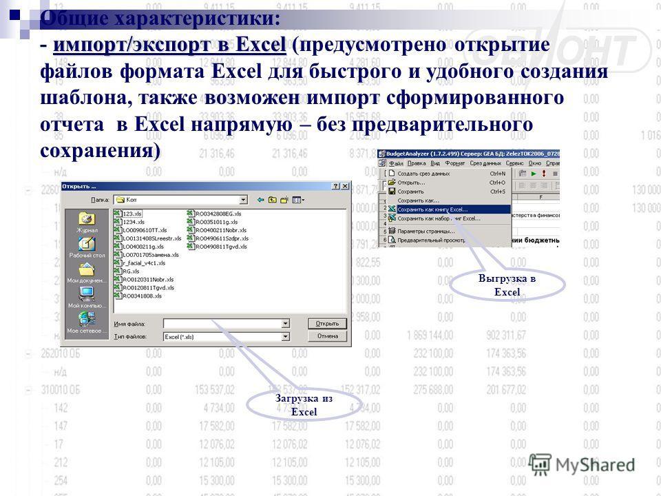 импорт/экспорт в Excel Общие характеристики: - импорт/экспорт в Excel (предусмотрено открытие файлов формата Excel для быстрого и удобного создания шаблона, также возможен импорт сформированного отчета в Excel напрямую – без предварительного сохранен