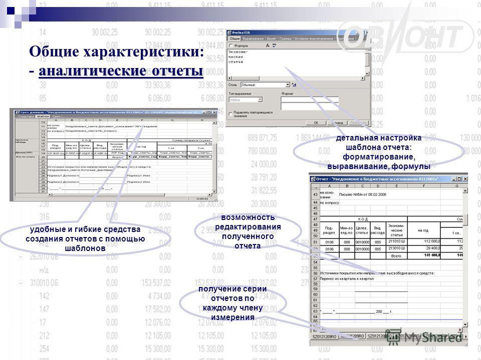 аналитические отчеты Общие характеристики: - аналитические отчеты удобные и гибкие средства создания отчетов с помощью шаблонов детальная настройка шаблона отчета: форматирование, выравнивание, формулы получение серии отчетов по каждому члену измерен