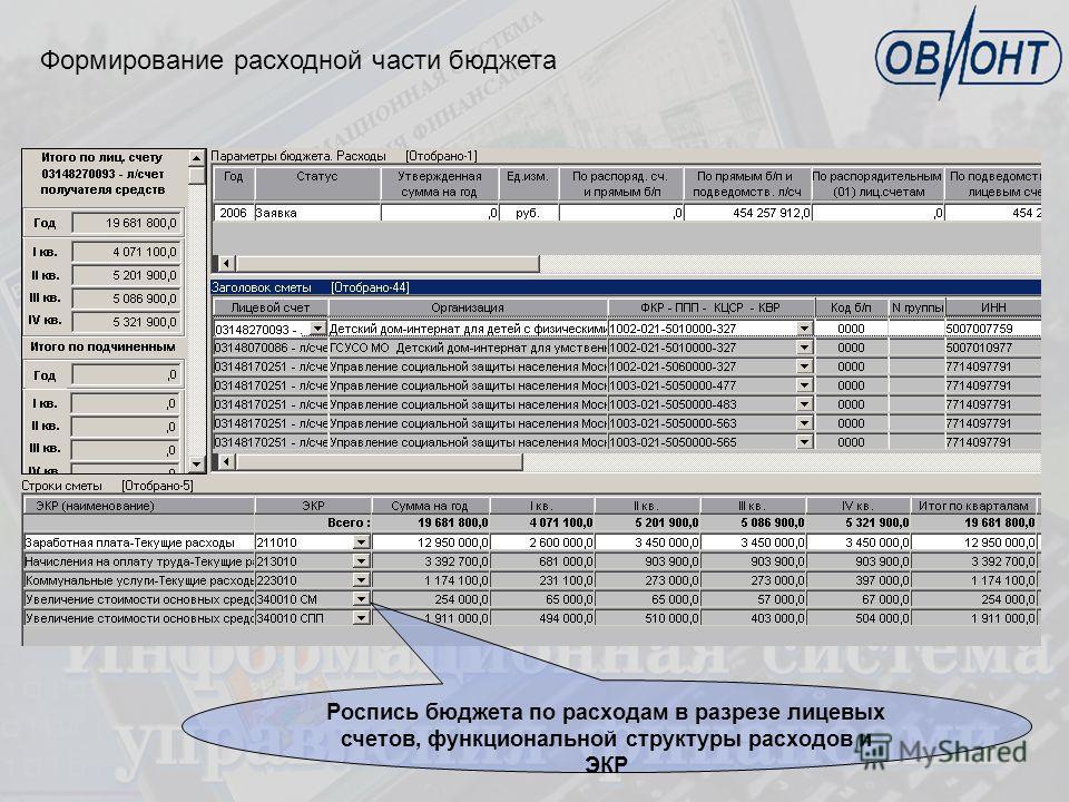 Формирование расходной части бюджета Роспись бюджета по расходам в разрезе лицевых счетов, функциональной структуры расходов и ЭКР